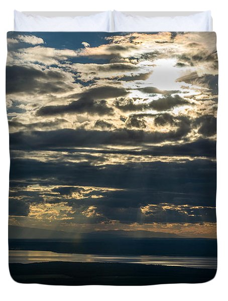Midnight Sun Over Mount Susitna Duvet Cover by Andrew Matwijec