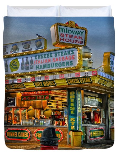 Duvet Cover featuring the photograph Midway Steak House by Debra Fedchin