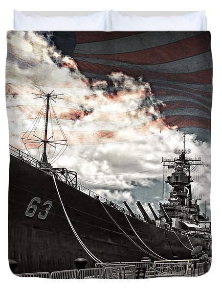 Mighty Mo U.s.s. Missouri Duvet Cover by Ken Smith