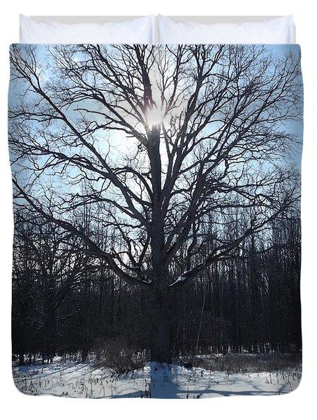 Mighty Winter Oak Tree Duvet Cover
