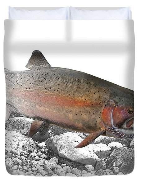 Migrating Steelhead Rainbow Trout Duvet Cover by Randall Nyhof