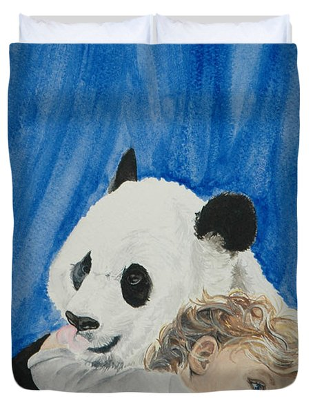 Mika And Panda Duvet Cover by Tamir Barkan