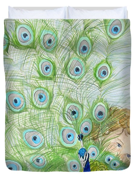 Mika And Peacock Duvet Cover by Tamir Barkan