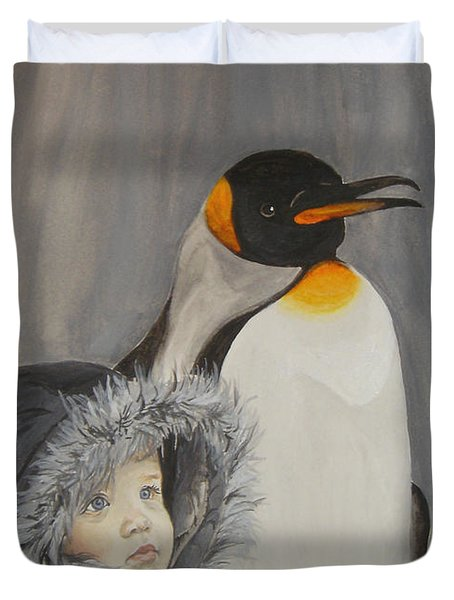 Mika And Penguin Duvet Cover by Tamir Barkan