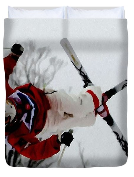 Mikael Kingsbury Skiing Duvet Cover by Lanjee Chee