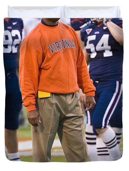 Mike London University Of Virginia Football Duvet Cover by Jason O Watson