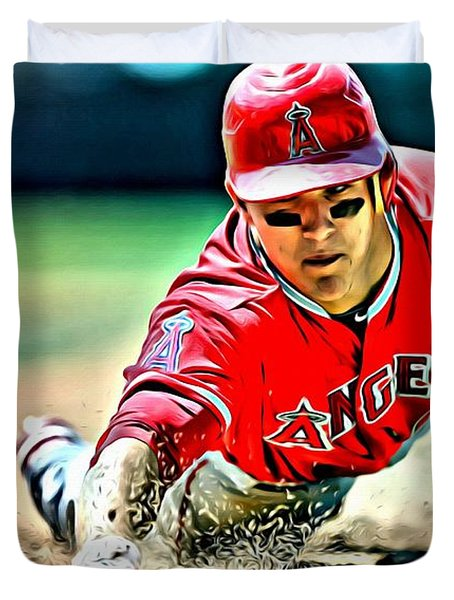 Mike Trout Painting Duvet Cover