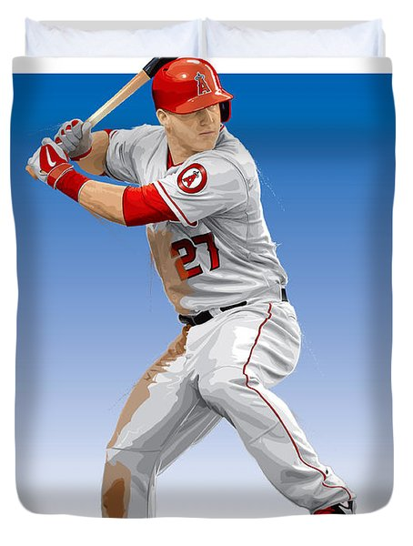 Mike Trout Duvet Cover by Scott Weigner