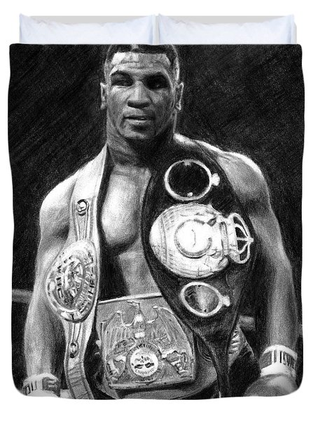 Mike Tyson Pencil Drawing Duvet Cover