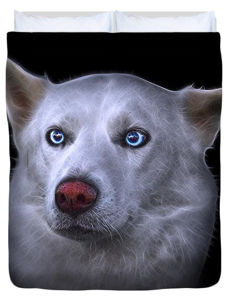 Mila - Siberian Husky - 2103 - Bb Duvet Cover by James Ahn