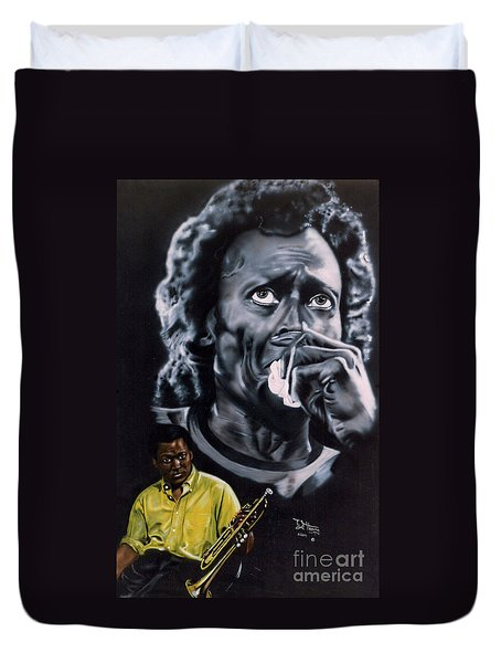 Miles Davis Jazz King Duvet Cover
