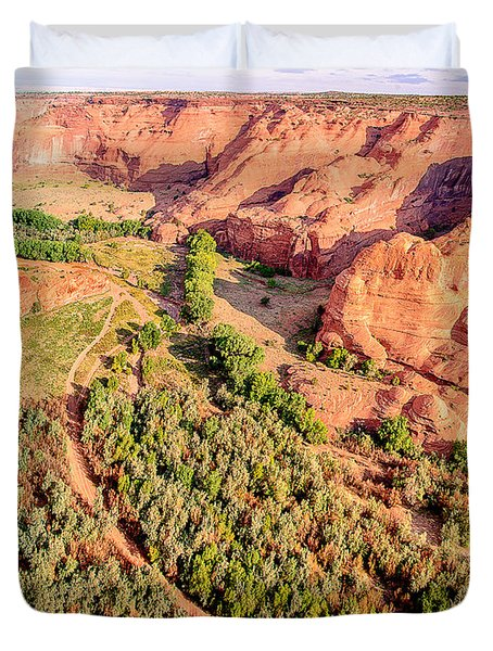 Miles To Go In Canyon De Chelly Duvet Cover by Bob and Nadine Johnston