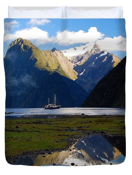 Duvet Cover featuring the photograph Milford Sound by Cascade Colors
