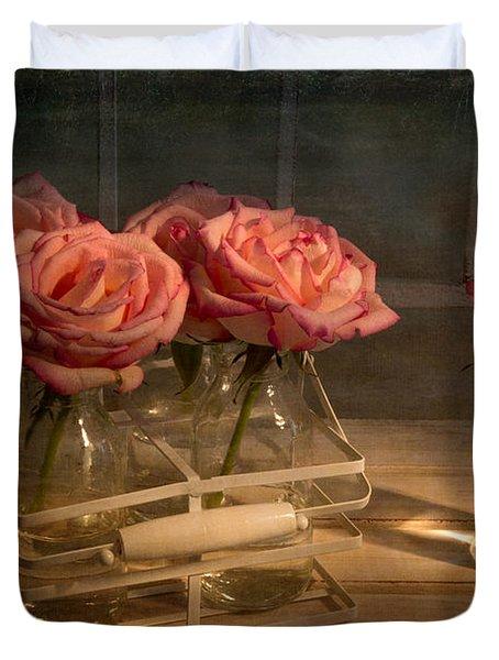 Milk Bottle Roses Duvet Cover by Ann Garrett