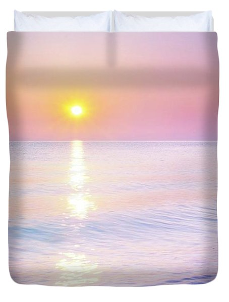 Duvet Cover featuring the photograph Milky Sunset by Lilia D