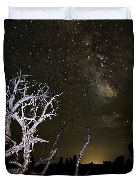 Milky Way Over Arches National Park Duvet Cover by Adam Romanowicz