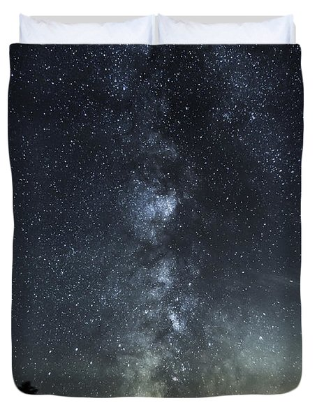 Milky Way Over Beaver Pond In Phippsburg Maine 2 Duvet Cover by Patrick Fennell
