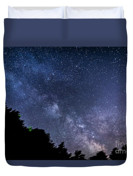Milky Way Over Silver Springs Campground Duvet Cover by Patrick Fennell