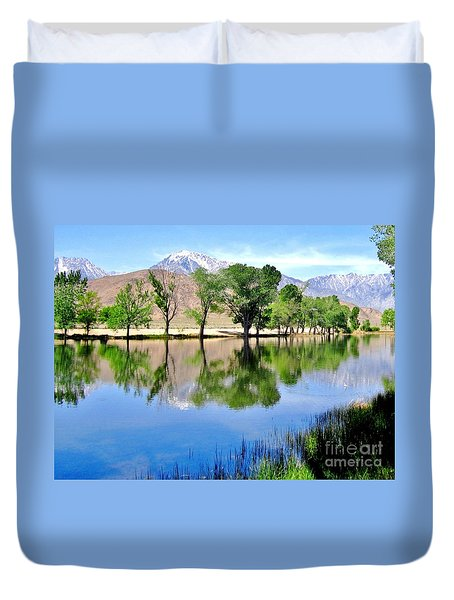 Duvet Cover featuring the photograph Mill Pond by Marilyn Diaz