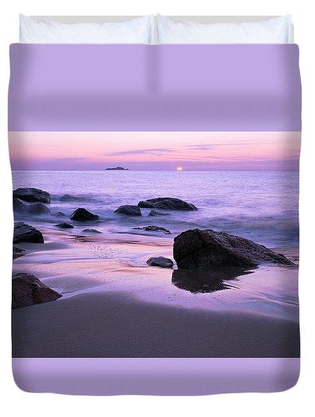 Millennium Sunrise Singing Beach Duvet Cover by Michael Hubley