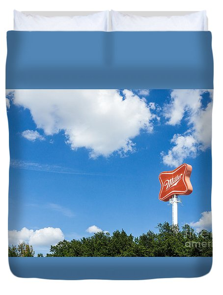 Miller Brewery Sign Duvet Cover
