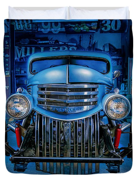Millers Chop Shop 1946 Chevy Truck Duvet Cover by Yo Pedro