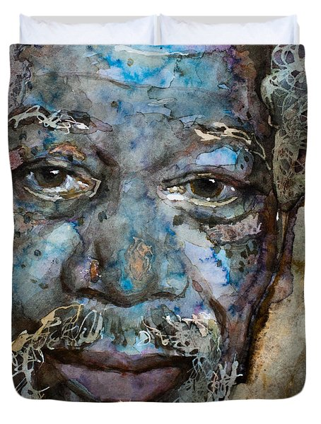 Duvet Cover featuring the painting Million Dollar Baby by Laur Iduc