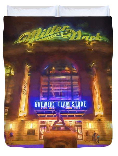Milwaukee Brewers Miller Park Painted Digitally Duvet Cover by David Haskett