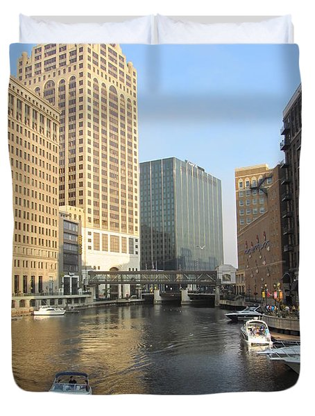 Milwaukee River Theater District 3 Duvet Cover