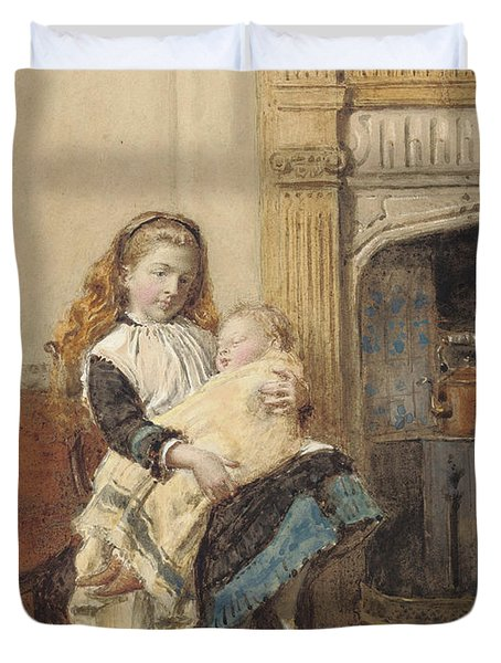 Minding Baby Duvet Cover by George Goodwin Kilburne