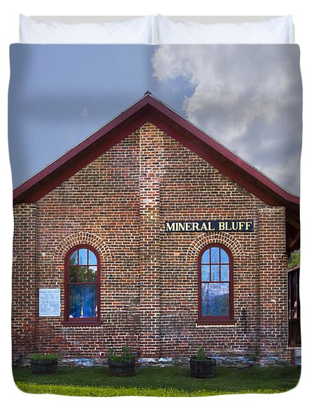 Mineral Bluff Station Duvet Cover by Debra and Dave Vanderlaan