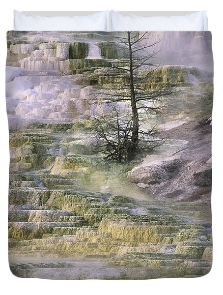 Duvet Cover featuring the photograph Minerva Springs Terraces Yellowstone National Park by Dave Welling