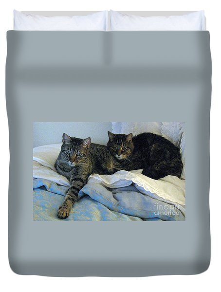 Ming And Sheba Resting  Duvet Cover