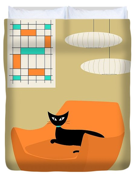 Mini Abstract With Orange Chair Duvet Cover