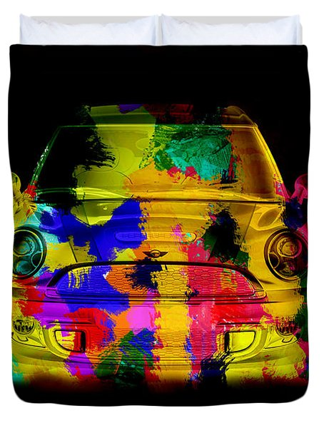 Mini Cooper Colorful Abstract On Black Duvet Cover by Eti Reid