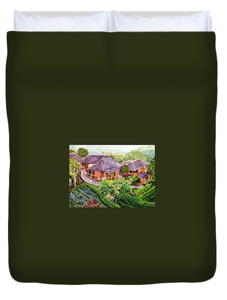 Duvet Cover featuring the painting Mini Paradise by Belinda Low