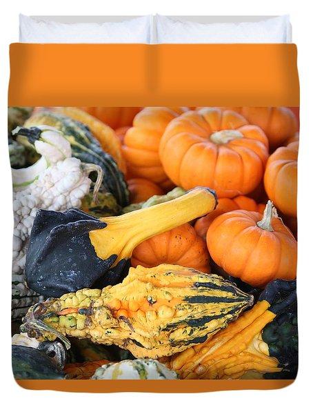 Duvet Cover featuring the photograph Mini Pumpkins And Gourds by Cynthia Guinn