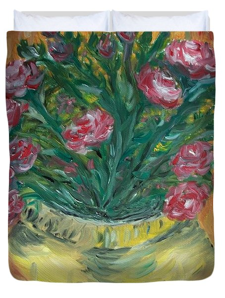 Duvet Cover featuring the painting Mini Roses by Teresa White