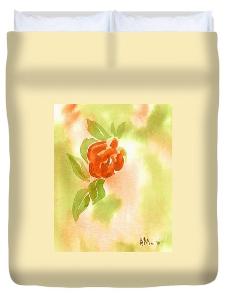 Duvet Cover featuring the painting Miniature Red Rose II by Kip DeVore