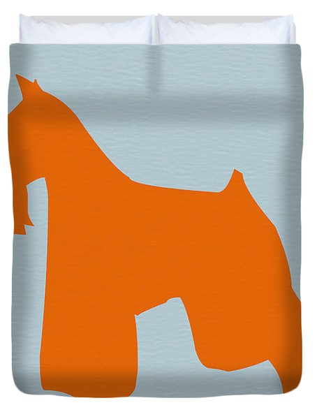 Miniature Schnauzer Orange Duvet Cover by Naxart Studio