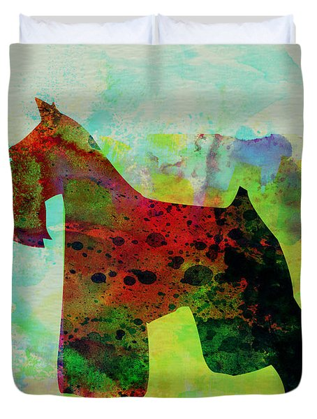 Miniature Schnauzer Watercolor Duvet Cover