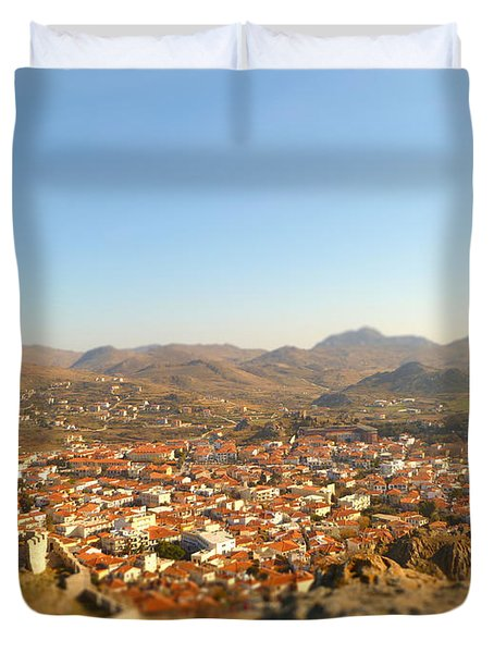 Miniature Town Duvet Cover by Vicki Spindler