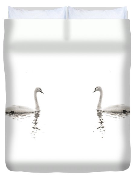 Duvet Cover featuring the photograph Minimalist Swans In Black And White by Brooke T Ryan