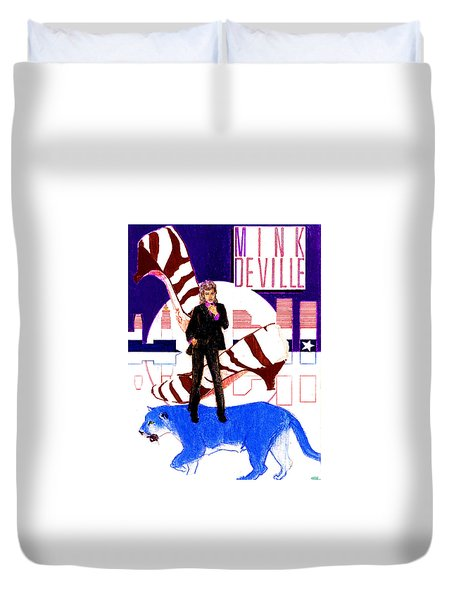 Mink Deville - Le Chat Bleu Duvet Cover by Sean Connolly