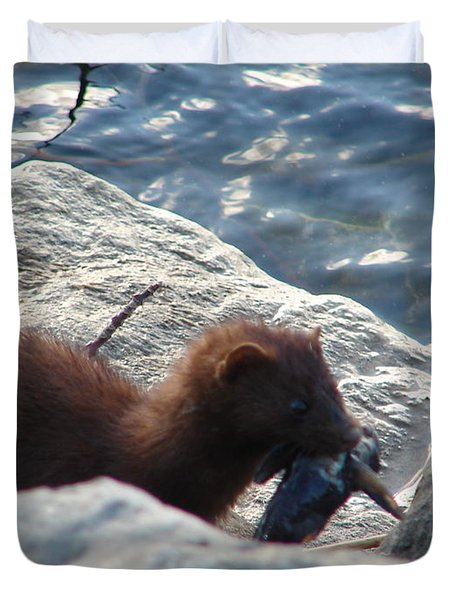 Mink With A Round Goby Duvet Cover by Randy J Heath