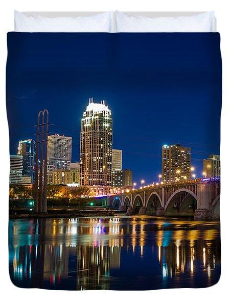 Minneapolis City Lights Duvet Cover by Mark Goodman