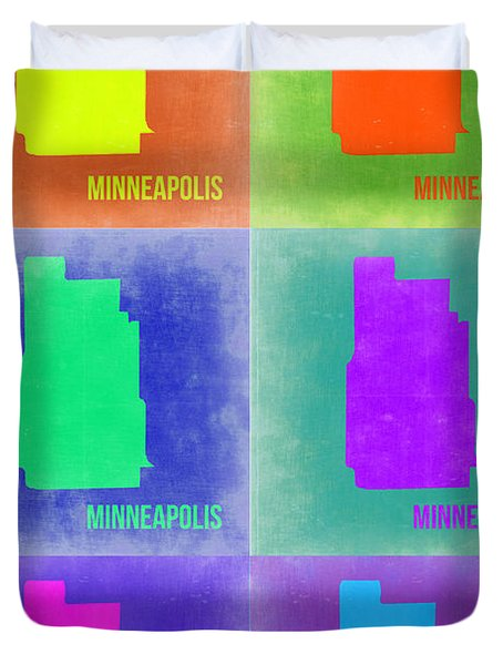 Minneapolis Pop Art Map 3 Duvet Cover by Naxart Studio