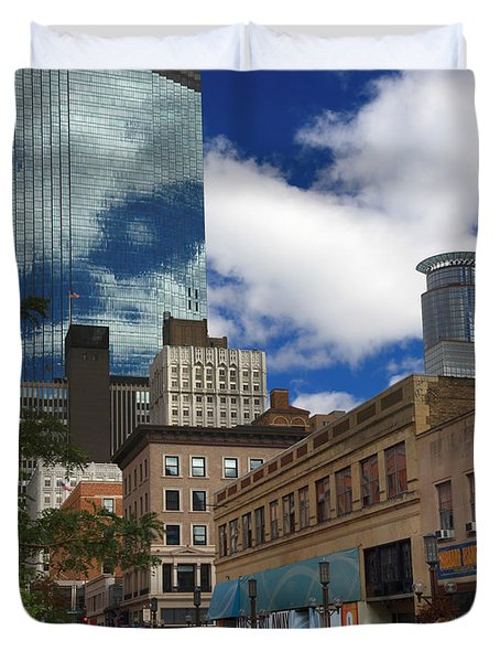 Minneapolis Skyline Photography Nicollet Mall Duvet Cover