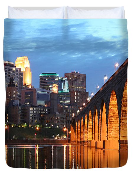 Minneapolis Skyline Photography Stone Arch Bridge Duvet Cover