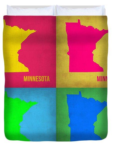 Minnesota Pop Art Map 1  Duvet Cover by Naxart Studio